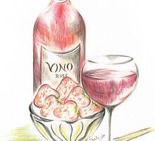 Vino with strawberries by Teresa White