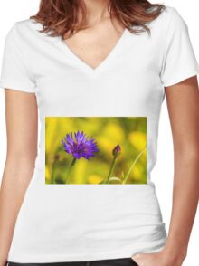 Purple Bloom, Corn Flower (Centaurea cyanus) Women's Fitted V-Neck T-Shirt