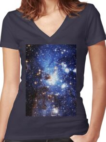 Blue Galaxy 3.0 Women's Fitted V-Neck T-Shirt