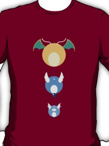 Dratini, Dragonair, Dragonite Pokedot T-Shirt