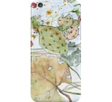 Prickly Pear Cactus and Leaves iPhone Case/Skin