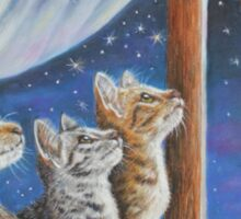Whimsical Cat Painting -  Moon Tales Sticker