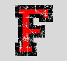 Letter F Vintage Black Red Character by theshirtshops