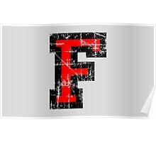 Letter F Vintage Black Red Character Poster