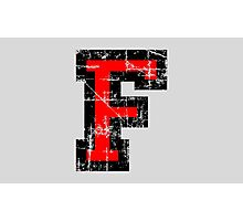 Letter F Vintage Black Red Character Photographic Print