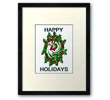 Happy Holidays Twisted Holly Wreath With Rudolph Christmas Card Framed Print