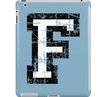 Letter F (Distressed) two-color black/white character iPad Case/Skin