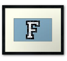 Letter F (Distressed) two-color black/white character Framed Print