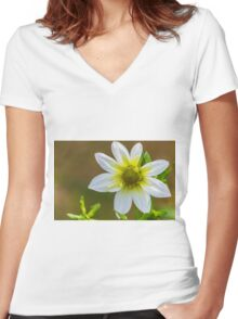 White & Yellow Women's Fitted V-Neck T-Shirt
