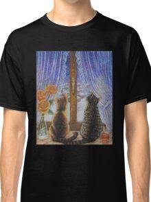 Cat Art - Cats Watching the Snow Fall Classic T-Shirt