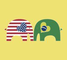 U.S.-Brazil Friendship Elephants Kids Tee