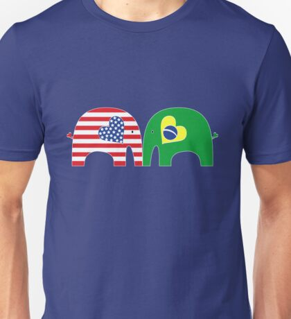 U.S.-Brazil Friendship Elephants Unisex T-Shirt