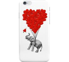 Elephant and red heart balloons iPhone Case/Skin