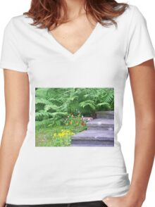 Garden Stairs Women's Fitted V-Neck T-Shirt