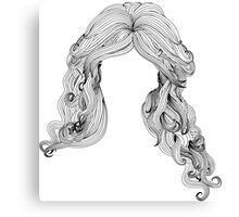 Curly hair style in black and white Canvas Print