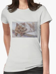 Cat Art - Long Haired Cat Staring at You Womens Fitted T-Shirt