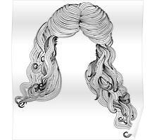 Curly hair style in black and white 2 Poster