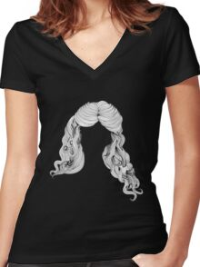 Curly hair style in black and white 2 Women's Fitted V-Neck T-Shirt