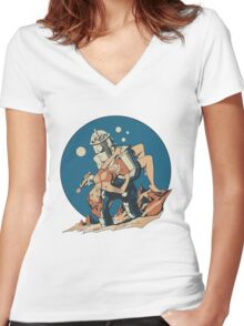 Damsel in Space Women's Fitted V-Neck T-Shirt