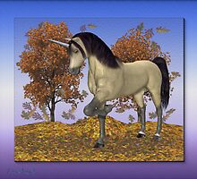 Unicorn in the fall leaves by LoneAngel