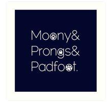 Moony & Pongs & Padfoot Art Print