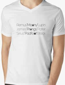 MoonyPadfootProngs(black) Mens V-Neck T-Shirt
