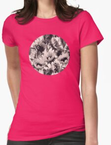 Sunflowers in Soft Sepia Womens Fitted T-Shirt