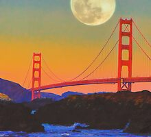 Moonrise over the Golden Gate Bridge by moorezart