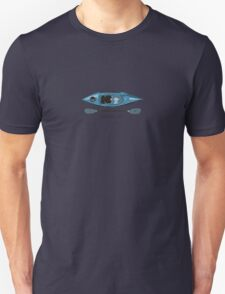 """Blue Kayak with paddle illustration, and """"Paddle on"""" text T-Shirt"""