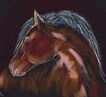 Brown Horse Sketch with White Outlines by ibadishi