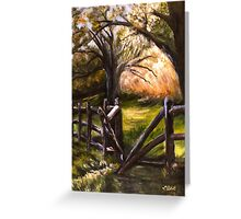 Broken and Vulnerable--Split Rail Fence in Historic Falmouth, Virginia (Revised 36x48 acrylic) Greeting Card