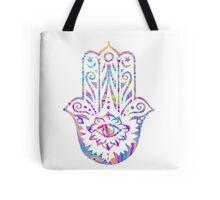 Rainbow Swirl Hamsa Tote Bag