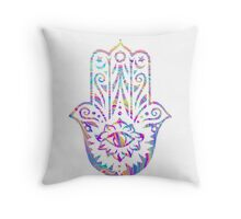 Rainbow Swirl Hamsa Throw Pillow