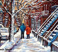 COUPLE WALKING IN VERDUN WINTER SCENE CANADIAN ART by Carole  Spandau