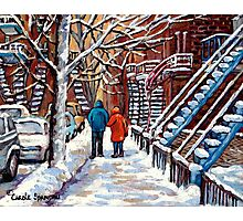 COUPLE WALKING IN VERDUN WINTER SCENE CANADIAN ART Photographic Print