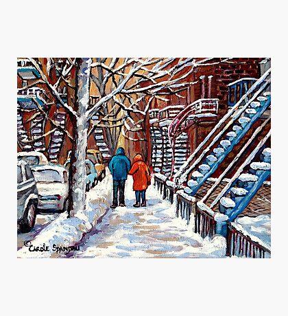 COUPLE WALKING IN VERDUN WINTER SCENE CANADIAN ART Photographic Print