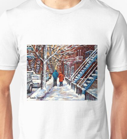 COUPLE WALKING IN VERDUN WINTER SCENE CANADIAN ART Unisex T-Shirt