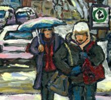 BEST MONTREAL PAINTINGS CROSSING COTE ST. CATHERINE MONTREAL ART Sticker