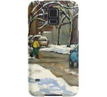 CANADIAN URBAN CITY WINTER SCENE MONTREAL PAINTING Samsung Galaxy Case/Skin