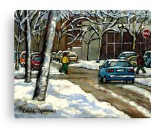 CANADIAN URBAN CITY WINTER SCENE MONTREAL PAINTING Canvas Print