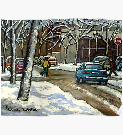 CANADIAN URBAN CITY WINTER SCENE MONTREAL PAINTING Poster