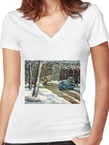 CANADIAN URBAN CITY WINTER SCENE MONTREAL PAINTING Women's Fitted V-Neck T-Shirt