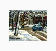 CANADIAN URBAN CITY WINTER SCENE MONTREAL PAINTING Unisex T-Shirt