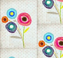 Watercolor Flowers Polka Dots by rupydetequila