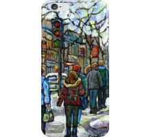 CANADIAN WINTER CITY SCENE DOWNTOWN MONTREAL iPhone Case/Skin