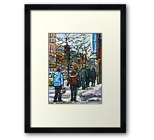 CANADIAN WINTER CITY SCENE DOWNTOWN MONTREAL Framed Print