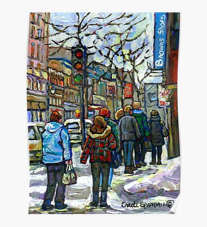 CANADIAN WINTER CITY SCENE DOWNTOWN MONTREAL Poster