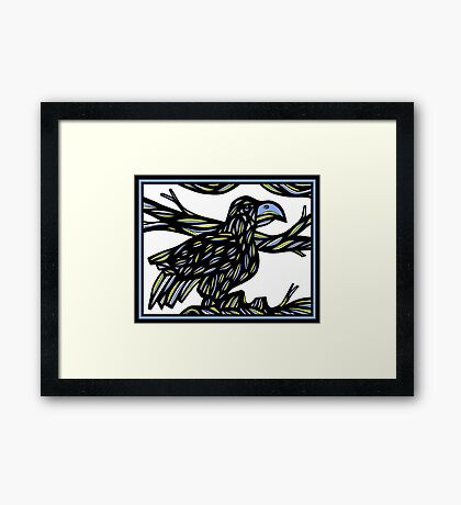 Aquiline Bird Blue Yellow White Framed Print