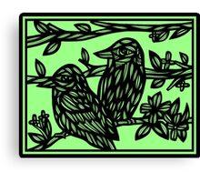 Assemblage Bird Green Black Canvas Print