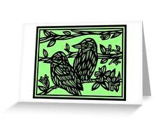 Assemblage Bird Green Black Greeting Card